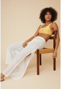 Cream Crochet Beach Trouser