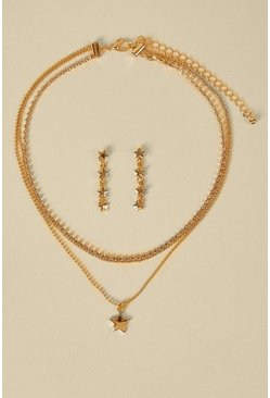 Gold Celestial Necklace And Earring Set