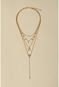 Gold Layered Drop Necklace