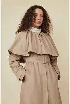 Beige Cape Trench Coat