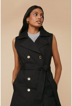 Black Sleeveless Button Front Mac