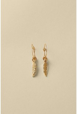 Gold Feather Charm Earring