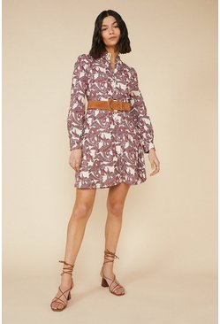 Red Paisley Shirt Dress