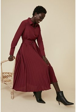 Berry Pleated Shirt Dress
