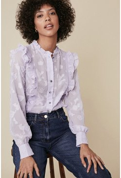 Purple Textured Ruffle Trim Blouse