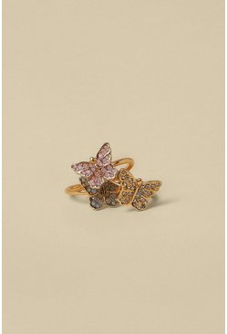Gold Pave Butterfly 3 Pack Rings