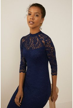Navy Lace High Neck Mini Dress