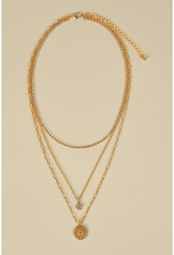 Gold Disk Layered Necklace