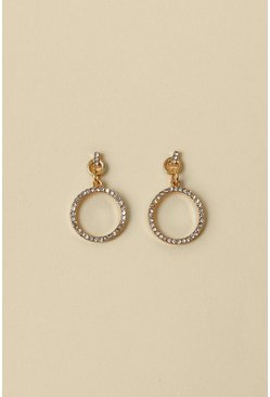 Gold Circle Pave Earring