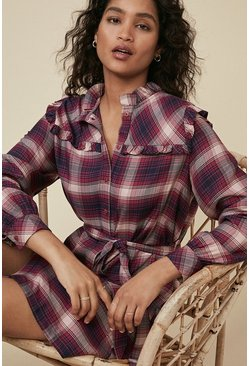 Pink Checked Frill Trim Shirt Dress