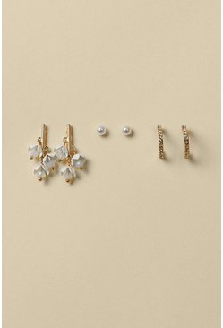 Gold Pretty 3 Pack Earring Set