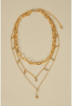 Gold Celestial Layer Necklace