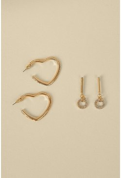 Gold Heart And Circle Drop 2 Pack Earrings