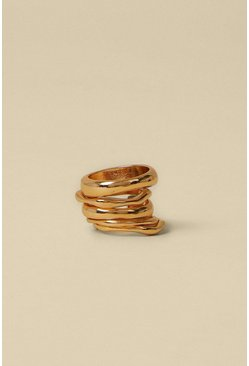 Gold Chunky Metal 5 Pack Rings