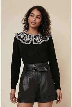 Black Embroidered Woven Collar Jumper