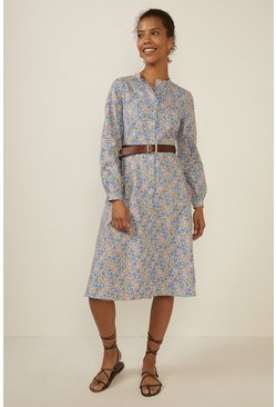 Multi Blue Ditsy Print Cotton Shirt Dress