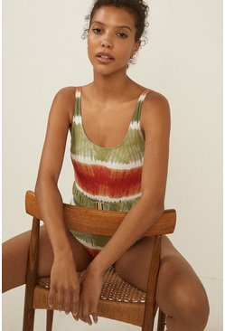Washed khaki Belted Blurred Stripe Swimsuit