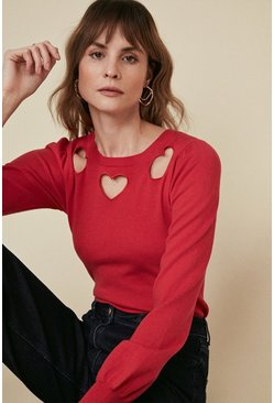 Red Heart Neck Jumper