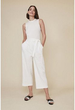 Cream Wide Leg Tie Side Trouser