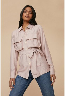 Dusky pink Linen Look Shacket