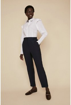Navy Relaxed Linen Look Peg Trouser