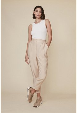 Sand Relaxed Linen Look Peg Trouser