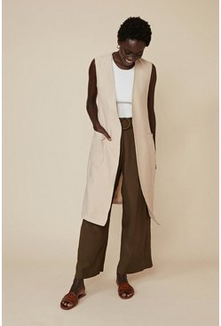 Stone Sleeveless Linen Look Jacket