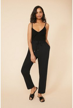 Black Tie Waist Tailored Trousers