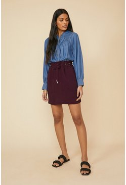 Purple Tie Waist Mini Skirt