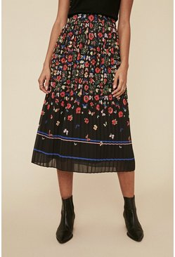 Black Floral Border Printed Skirt