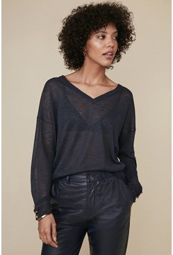 Navy V Neck Slub Knit Jumper