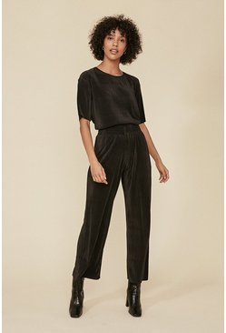 Black Plisse Loungewear Set