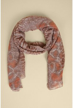 Beige Animal Clash Lightweight Scarf