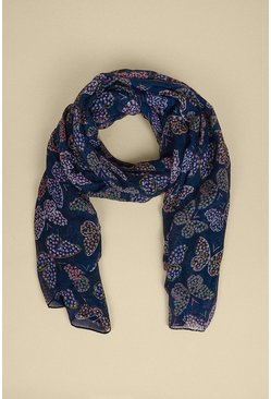 Navy Ditsy Butterfly Print Lightweight Scarf