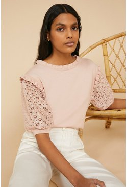 Pink Broderie Puff Sleeve Top