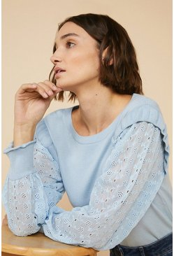 Pale blue Broderie Woven Sleeve Jumper