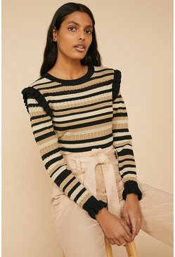 Multi Pointelle Long Sleeve Jumper