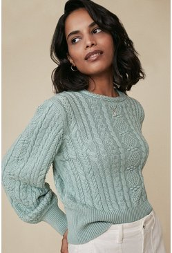 Sage Cable Puff Sleeve Jumper