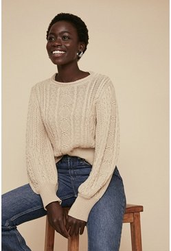 Stone Cable Puff Sleeve Jumper