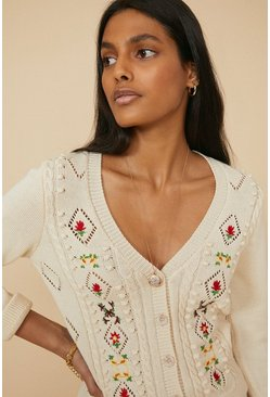 Ivory Embroidered Floral Cardigan