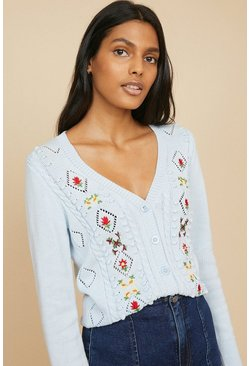 Pale blue Embroidered Floral Cardigan