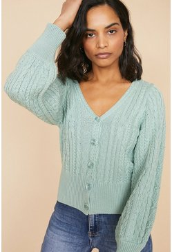 Sage Cable Puff Sleeve Cardigan