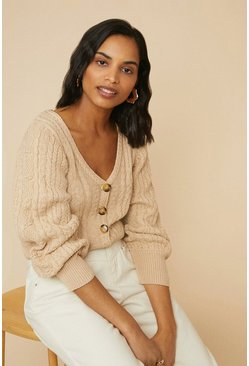 Stone Cable Puff Sleeve Cardigan