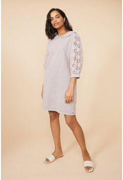 Grey Broderie Sleeve Sweat Dress