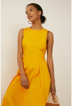 Yellow Tie Back Cotton Midi Dress
