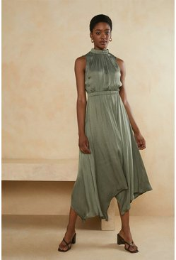 Khaki Satin Sleeveless Hanky Hem Midi Dress