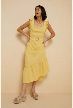 Yellow Gingham Ruffle Sleeve Midi Dress