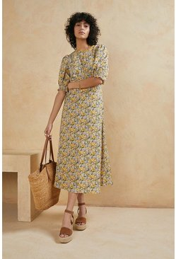Yellow Floral Printed Puff Sleeve Midi Dress