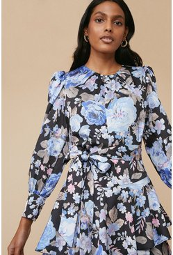 Multi Bloom Print Skater Dress