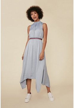 Pale blue Satin Striped Waist Hanky Hem Midi Dress
